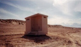 A double portable flush restroom at Lone Rock.