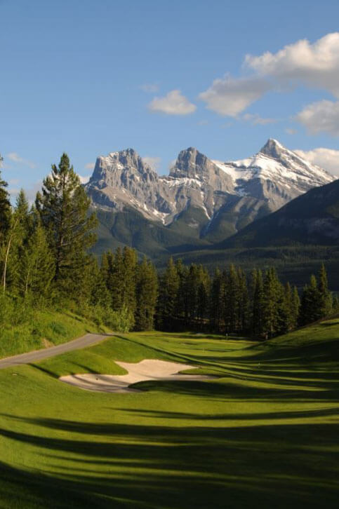 Golf Course fairway with mountains in distance